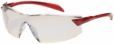 Bouton Radar Safety Glasses with Red Temple and Indoor/Outdoor Anti-Fog Lens
