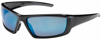 Bouton Sunburst Safety Sunglasses with Black Frame and Blue Mirror Lens