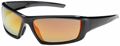 Bouton Sunburst Safety Sunglasses with Black Frame and Red Mirror Lens