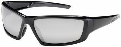 Bouton Sunburst Safety Sunglasses with Black Frame and Silver Mirror Lens