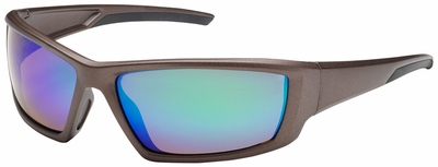 Bouton Sunburst Safety Sunglasses with Brown Frame and Green Mirror Lens