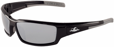 Bullhead Mako Safety Glasses with Shiny Black Frame and Polarized Silver Mirror Lens