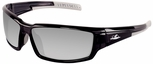 Bullhead Maki Safety Glasses with Shiny Black Frame and Polarized Silver Mirror Lens