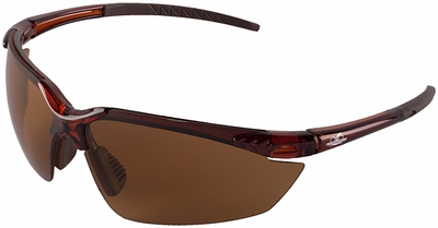 Bullhead Mojarra Safety Glasses with Crystal Brown Frame and Polarized Precision Brown Lens