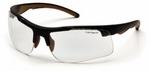 Carhartt Rockwood Safety Glasses with Black Frame and Clear Anti-Fog Lenses
