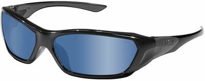 Crews ForceFlex Safety Glasses with Black Frame and Blue Mirror Lens