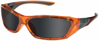 Crews ForceFlex Safety Glasses with Orange Frame and Gray Anti-Fog Lens