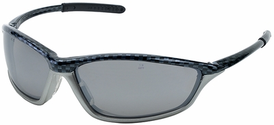 Crews Shock Safety Glasses with Carbon/Silver Frame and Gray Anti-Fog Lens