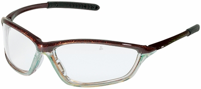 Crews Shock Safety Glasses with Chameleon/Clear Chrome Frame and Clear Anti-Fog Lens
