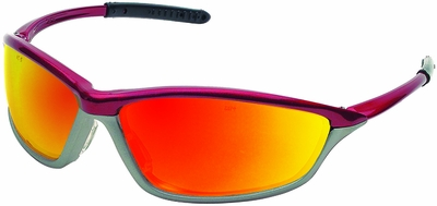Crews Shock Safety Glasses with Crimson/Stone Frame and Fire Mirror Lens