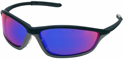 Crews Shock Safety Glasses with Onyx/Gray Frame and Blue Diamond Mirror Lens