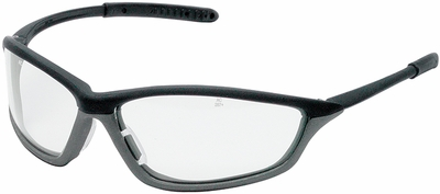 Crews Shock Safety Glasses with Onyx/Gray Frame and Clear Anti-Fog Lens