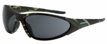Crossfire Core Safety Glasses with Military Green Camo Frame and Smoke Lens