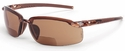 Crossfire ES5 Bifocal Safety Glasses with Crystal Brown Frame and HD Brown Lens