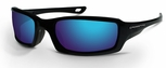 Crossfire M6A Safety Glasses with Mettalic Blue Frame and Blue Mirror Lens