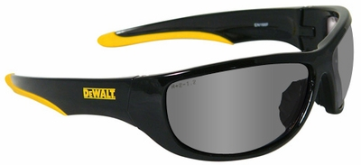 DeWalt Dominator Safety Glasses with Black Frame and Silver Mirror Lens