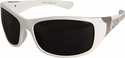 Edge Aurora Safety Glasses with White Lace Frame and Smoke Lens