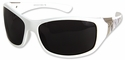 Edge Aurora Safety Glasses with White Zebra Frame and Smoke Lens