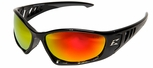 Edge Baretti Safety Glasses with Black Frame and Aqua Precision Red Mirror Lenses