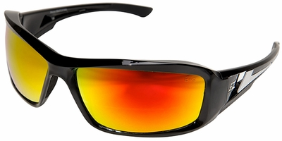Edge Brazeau Safety Glasses with Black Frame and Aqua Precision Red Mirror Lens