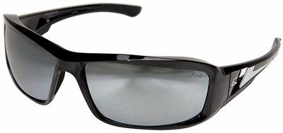 Edge Brazeau Safety Glasses with Black Frame and Silver Mirror Lens