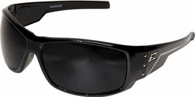 Edge Caraz Ballistic Safety Glasses with Gloss Black Frame and Polarized Smoke Lens
