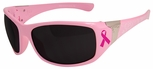 Edge Civetta Safety Glasses with Light Pink Lace Frame, BCA Ribbon and Smoke Lens