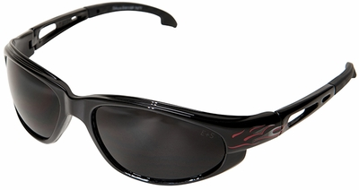 Edge Dakura Safety Glasses with Black Flames Frame and Smoke Lens