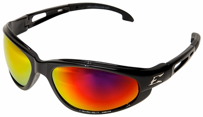 Edge Dakura Safety Glasses with Black Frame and Aqua Precision Red Mirror Lens