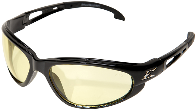 Edge Dakura Safety Glasses with Black Frame and Yellow Lens