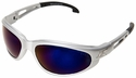 Edge Dakura Safety Glasses with Silver Frame and Blue Mirror Lens