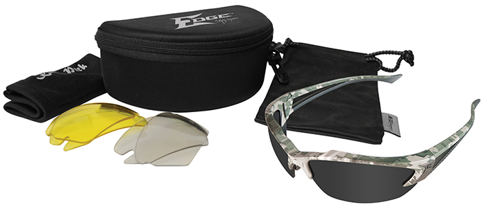 Edge Khor Polarized Safety Glasses Kit with Digital Camo Frame and Gray, Yellow and AR Lenses