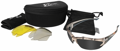 Edge Khor Polarized Safety Glasses Kit with Forest Camo Frame and Gray, Yellow and AR Lenses