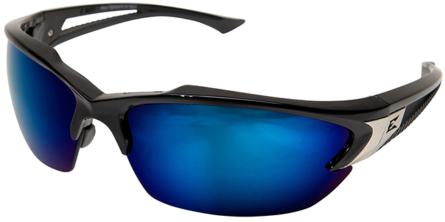 Edge Khor Polarized Safety Glasses with Matte Black Frame and Blue Mirror Lens