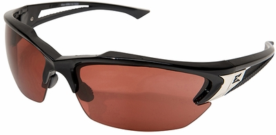 Edge Khor Polarized Safety Glasses with Matte Black Frame and Copper Driving Lens