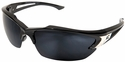 Edge Khor Polarized Safety Glasses with Matte Black Frame and G-15 Silver Mirror Lens