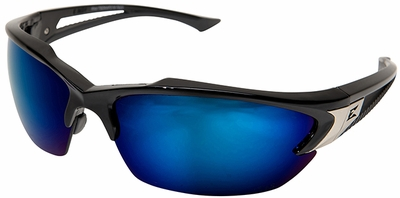 Edge Khor Safety Glasses with Black Frame and Blue Mirror Lens