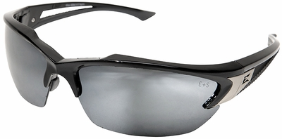 Edge Khor Safety Glasses with Black Frame and Silver Mirror Lens