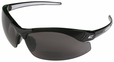 Edge Zorge Ballistic Bifocal Safety Glasses with Black Frame and Polarized Smoke Lens