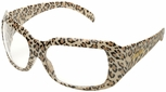 Elvex Chica Safety Glasses with Leopard Frame and Clear Lens