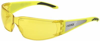 Elvex Reflect-Specs Safety Glasses with Hi-Viz Yellow and Silver Reflecting Temples and Amber Lens