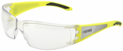 Elvex Reflect-Specs Safety Glasses with Hi-Viz Yellow and Silver Reflecting Temples and Clear Anti-Fog Lens