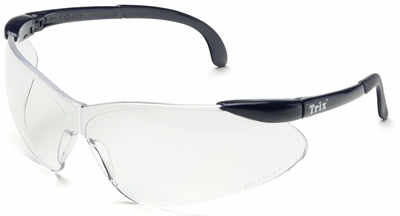 Elvex Trix Safety Glasses with Navy Temples and Anti-Fog Clear Lens