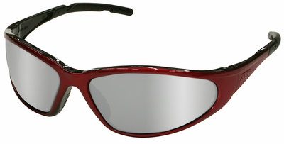 Elvex XTS Safety Glasses with Red Frame and Silver Mirror Lens