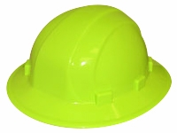ERB Omega II Hi-Viz Yellow Full Brim Hard Hat with 6-Point Ratchet Suspension