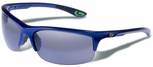 Gargoyles Flux Safety Sunglasses with Surf Blue Metallic Frame and Silver Mirror Polarized Lens