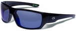 Gargoyles Wrath Safety Sunglasses with Black Frame and Blue Mirror Polarized Lens