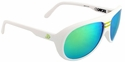 Gatorz Ely Sunglasses with Matte White Frame and Green Multi-layer Lens