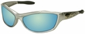 Harley Davidson HD1000 Safety Glasses with Silver Frame and Blue Mirror Lens