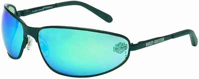 Harley Davidson HD510 Safety Glasses with Matte Black Frame and Blue Mirror Lens